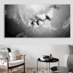 Оригинал              Черно-белая любовь поцелуй Wall Art Picture Print Абстрактное искусство на картинах для украшения комнаты