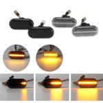 Оригинал              Динамический свет LED Боковые габаритные фонари Лампы повторителя Желтая пара для Nissan Opel Renault Smart
