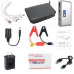 Оригинал              JX36 Дисплей 98600 мАч 12 В Авто Jump Starter Портативный USB-банк аварийного питания Батарея Booster Зажим 1000A DC DC Silver