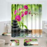 Оригинал              180×180см Занавеска для душа 3шт Коврик для ванной Коврик Набор Современный Дизайн Для Ванная комната