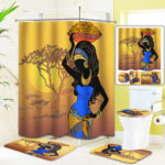 Оригинал              Экзотические африканские девушки Ванная комната Коврик для унитаза для унитаза с нескользящим ковриком