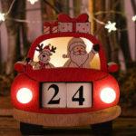 Оригинал              Loskii Christmas Авто Календарь с огнями Деревянные украшения Деревянные креативные реквизиты Украшение Легкие украшения Календарь