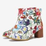 Оригинал              Женская лодыжка большого размера с цветочным принтом Ботинки
