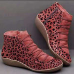 Оригинал              Женщины Plus Размер Замша Леопардовое Зерно Удобные Повседневные Лодыжки Ботинки