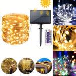 Оригинал              12M 22M Дистанционное Управление LED Солнечная String Light 8 режимов IP65 Водонепроницаемы Рождественский праздник Лампа Декор