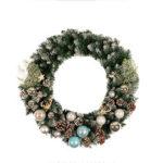 Оригинал              50 см Белые Сосновые Шишки Рождественский Венок Цветные Шары Рождественский Цветочный Тростник Елочные Украшения