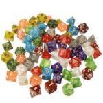Оригинал              70шт акриловые многогранные кубики ролевая игра гаджет для игры в кости драконов D20 D12 D10 D8 D6 D4 игры