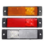 Оригинал              3 LED Боковые габаритные огни с задним отражателем, индикатор 12-24 В, желтый / красный / белый, для грузового автомобиля с прицепом