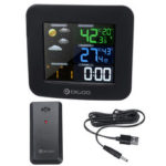 Оригинал              Беспроводная метеостанция Термометр HD Экран Цифровые часы температуры влажности + датчик