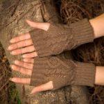 Оригинал              Шерстяной трикотаж Половина пальца набрав женский бриллиантовый палец Перчатки
