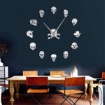 Оригинал              Разные Череп Голов DIY Ужас Wall Art Giant Wall Часы Большие Иглы Безрамные Головы Зомби Большие Настенные Часы Хэллоуин Декор