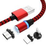 Оригинал              Bakeey 2.4A Type C Micro USB Светодиодный Быстрая зарядка Магнитный кабель для передачи данных для Huawei P30 Pro Mate 30 5G Xiaomi Mi9 9Pro Oneplus 7T S10 + Note 10 5G