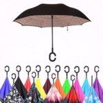 Оригинал              Двухслойный цвет Дизайн Зонт с ультрафиолетовым излучением Перевернутый зонт C-образной формы Ветрозащитный зонт для мужчин Женское
