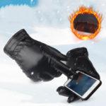 Оригинал              Bakeey PU Кожаный Сенсорный Экран Перчатки Зимний Теплый Водонепроницаемы На открытом воздухе мотоцикл Игры на Велосипедах с сенсорным экран