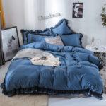 Оригинал              4шт сплошной цвет вышивки кружева пурпурный комплект постельных принадлежностей мягко-гладкая пододеяльник лист наволочки король / корол