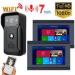 Оригинал              7-дюймовый 2-дюймовый монитор проводной / беспроводной видеодомофон с HD 1080P проводной камера ночного видения, поддержка Дистанционный APP дом