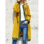 Оригинал              Повседневные флисовые накладные роговые пуговицы с карманами с капюшоном Пальто