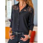Оригинал              Женская причинная кружевная блузка с длинным рукавом