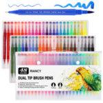 Оригинал              48/100 Colours Двуглавый маркер Ручка Art Щетка Акварельный двойной наконечник Ручкаs