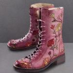 Оригинал              LOSTISY Женское Цветочная вышивка на толстом каблуке Лодыжка Ботинки