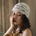 Оригинал              Вязаная шапочка Шапка в стиле ретро, литературная повседневная тюрбан Шапка
