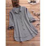 Оригинал              Рубашки с лацканами и вышивкой с цветочным принтом большого размера