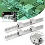 Оригинал              Machifit 2шт SBR12 линейный рельс 400мм полностью поддерживаемый вал с 4шт SBR12UU блоки токарный станок Инструмент