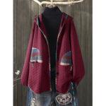Оригинал              Нерегулярные Винтаж печати лоскутное пуговица с капюшоном пальто
