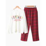 Оригинал              O Шея Повседневный пижамный комплект с длинными рукавами и принтом из хлопка
