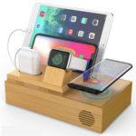 Оригинал              Bamboo 4 порта USB док-станция с беспроводным зарядным устройством Qi Держатель телефона Держатель планшета Подставка для часов для планшета Smart