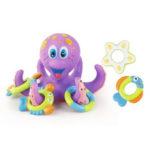 Оригинал              Осьминог Плавающий Soft Резина ABS Детские Ванны Игрушки с 5 Кольца Морских Животных Литой Круг для Детей Подарок