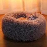 Оригинал              40-100см питомцев питомник круглый плюшевый гнездо домашних животных мягкий Soft теплый для Кот коврик для кровати коврик