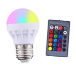 Оригинал              3W E27 RGB + белый LED Globe Light Bulb + Дистанционное Управление для внутреннего декора спальни дома