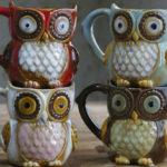 Оригинал              Creative Colorful Керамический Поделки Сова Shaped Cup Питьевая вода Cup Керамический Cup
