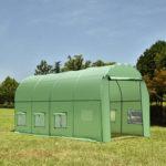 Оригинал              Проходная тепличная крыша Polly Tunnel На открытом воздухе Патио с рамами из политуннеля Сад 4 x 2 м