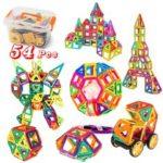 Оригинал              54шт 3D DIY магнитные кирпичи строительные блоки детские развивающие игрушки
