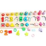 Оригинал              3 В 1 Деревянный Дошкольное Обучение Монтессори Математика Доска Счета Игрушки для Детей Подарок