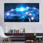 Оригинал              43 * 24 дюймов Андромеда Галактика Звезды Вселенная Космос Шелковый Плакат Искусство Стены Home Decor Краски