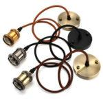 Оригинал              KINGSO 1M 3-проводный кабель-шнур Винтаж Промышленный стиль Подвесной DIY E27 Кулон Свет Лампа Адаптер держателя лампы