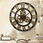 Оригинал              19 дюймов Старинные римские цифры Бесшумный Стены Часы Рустика Колесо Gear Деревянный Декор Часы