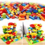 Оригинал              200 шт. / Компл. Лабиринт трек строительные блоки ABS воронка слайд собрать кирпичи блоки игрушки