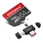 Оригинал              StickDrive 64GB Class 10 Высокоскоростная карта памяти TF с адаптером для карт памяти камера + 3 в 1 Type-C USB 2.0 Micro USB Устройство чтения карт памяти