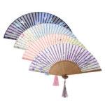 Оригинал              Китайский Японский Ручной Бамбук Шелковый Ручной Вентилятор Складной Карман Свадебное Украшения Партии