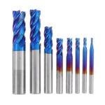 Оригинал              Фреза Drillpro HRC65 из карбида вольфрама 4 флейты 2-12мм синяя Nano Фрезерный станок с ЧПУ с покрытием Инструмент