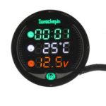 Оригинал              9V-24V 5-в-1 LED Ночное видение USB зарядное устройство Измеритель напряжения Таймер Температура Дисплей Таблица для мотоцикл ATV UTV Automobile