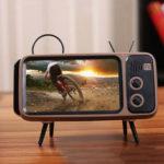 Оригинал              Bakeey Mini Retro TV Шаблон Bluetooth-динамик Настольный мобильный телефон Stand Holder Ленивый кронштейн для мобильного телефона от 4,7 до 5,5 дюймов