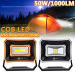 Оригинал              Перезаряжаемая рабочая фара 50 Вт 1000LM USB Водонепроницаемы COB LED Worklight Flood Лампа Батарея с питанием от 2 ламп Модели аварийного освещения На отк