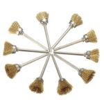 Оригинал              10шт 16мм латунь Провод колесо Щетка хвостовик 3мм для поворотных Инструмент аксессуары абразивные Инструмент