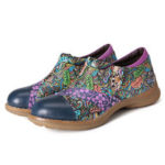 Оригинал              SOCOFY Женское Натуральная Кожа Flower Шаблон Туфли на плоской подошве