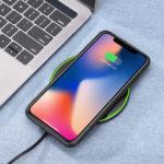 Оригинал              Bakeey 20 Вт Qi Беспроводное Быстрое Зарядное Устройство Зарядки Коврик Коврик Металлический Для iPhone XS Мобильный Телефон
